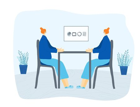 Talking to yourself concept. Twins dressed in the same casual clothes sitting at the desk infront each others.  Vector flat illustration.