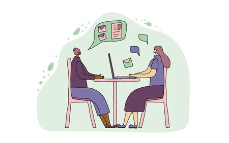 Mentoring concept. Colleagues sitting at the desk and working. Young persons talking about career. Two female coworkers discussing about skills development. Interview. Vector illustration.