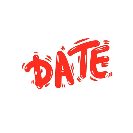 Date text. Romantic event yand drawn lettering isolated on white background. Valentines Day. Vector illustration. Ilustrace