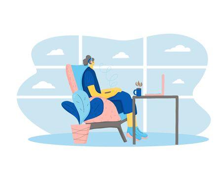 Personaje femenino sentado en una cómoda silla en un salón del aeropuerto y escuchando música. Chica vestida con ropa casual tomando un café y navegando en internet esperando su vuelo. Ilustración vectorial.