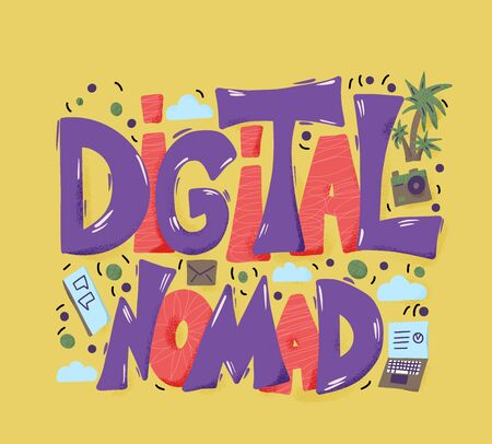 Digital nomad text emblem with decor. Feelance. Vector illustration.