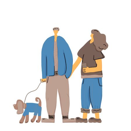 Young couple walking with their pet. Vector color illustration.