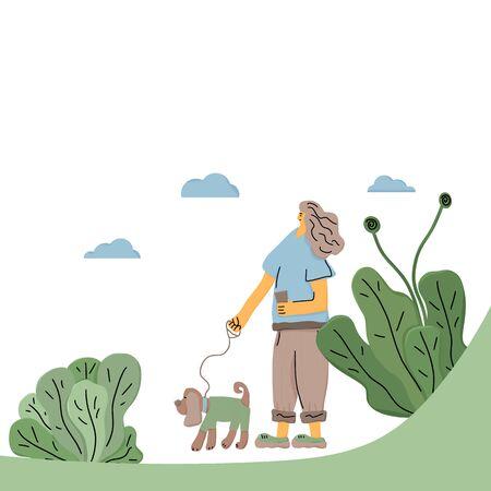 개 보행기. 그녀의 애완 동물과 함께 산책하는 소유자. 소녀는 개를 가죽 끈에 유지합니다. 벡터 일러스트 레이 션.