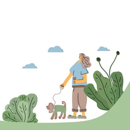Dog walker. Owner walking with her pet. Girl keeps the dog on the leash. Vector illustration.
