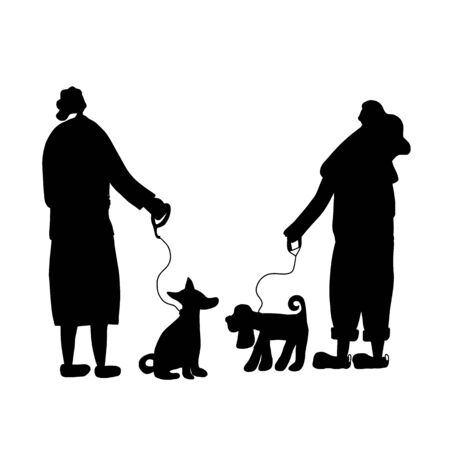 Dog walking silhouette. Owners standing with pets and talking about lifestyle. Young ladies keeps the dogs on the leash. Vector illustration. Ilustração