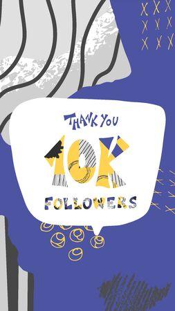 10k folowers social media post. 10000 subscribers post foe stories. Vector illustration.