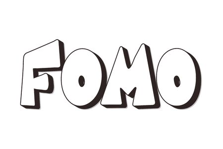 FOMO abbreviation text emblem isolated on white background. Modern social anxiety acronym. Fear of missing out concept. Vector illustration Ilustrace