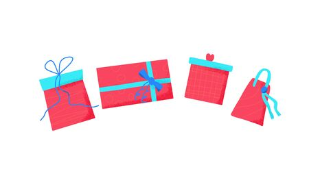 Gift boxes set isolated on white background. Giftware collection. Holiday presents symbols. Vector illustration.