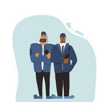 Deux gardes de sécurité debout, les bras croisés. Veilleurs avec radio sur fond blanc. Illustration vectorielle.