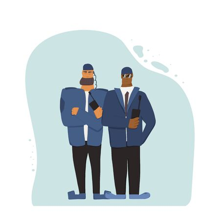 Two security guards standing with arms crossed. Watchmen with radio on white background. Vector illustration.