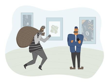 Security guard standing at the museum and protecting a pictures. Man wearing in a guards uniform saving a contemporary art painting and catch a thief. Vector flat illustration.