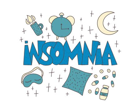 Insomnia text emblem with decoration. Hand drawn text and night symbols:  mask, moon, stars, pillow, alarm clock, pills.  Trouble sleeping vector illustration.