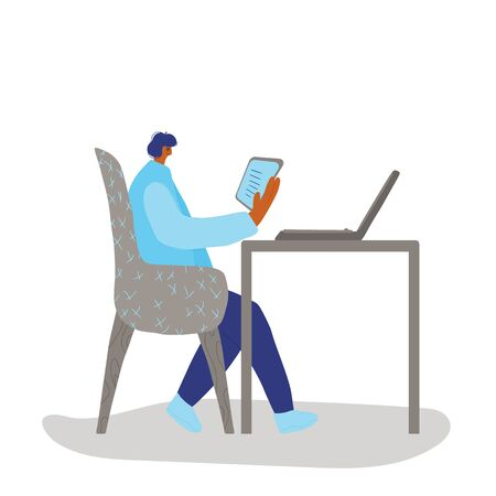 Adult person sitting at the table and reading his notes. Character using his tablet. Human wearing in casual clothes working with computer. Freelancer concept. Vector illustration.