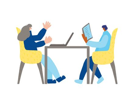 Coworking concept. Two persons sitting in the chair and talking about stratagy. Attractive collegues having a couch session. Mentor and student. Vector flat illustration.