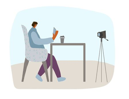 Young blogger sitting in the cozy chair with notes and coffee and recording a video. Cute influencer talking with his followers against camera on tripod. Key opinion leader. Vector flat illustration. Ilustrace
