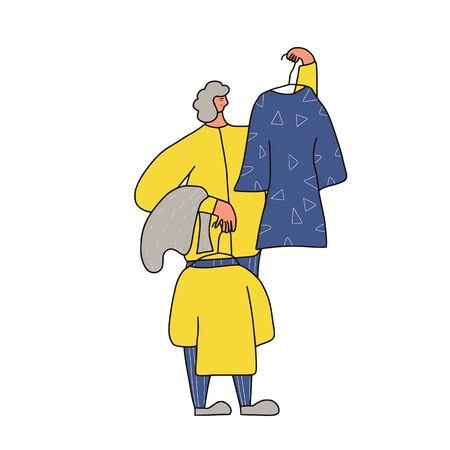 Clothes seller scene. Person showing vintage dresses. Second hand shop. Resale. Vector illustration.
