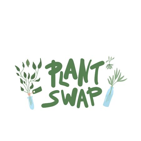 Plant swap emblem. Share indoor plants event. Vector flat illustration. Ilustrace
