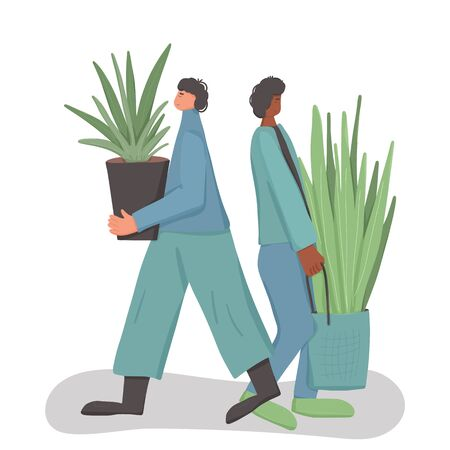 Plant lovers. Houseplants owners event. Young persons wearing in casual clothes standing eith their big houseplants. Friends  spend weekend with their hobby. Vector illustration. Ilustrace
