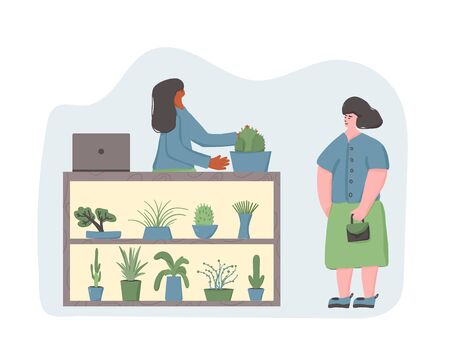 Indoor plants shop. Sale of potted house plants. Seller  houseplants with her client. Small business concept. Owner of flowers store giving a pot to a customer. Vector flat illustration.