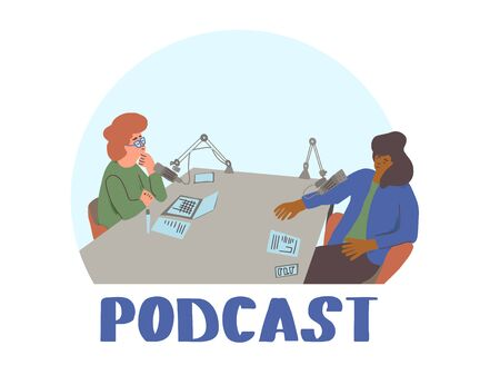 Podcast concept. Young women have a conversation  in a studio. Vector flat illustartion. Ilustrace