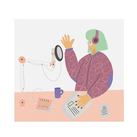 Podcasting concept. Young woman recording a podcast in a studio. Cute female blogger make a new content in her room. Vector illustartion. Ilustrace