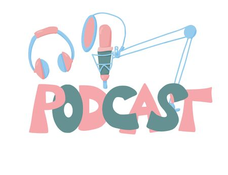 Podcast emblem. Studio microphone and lettering. Vector illustration. Ilustrace