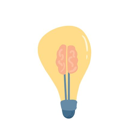Idea concept. The light bulb with brain sign isolated on white background. Solution symbol. Creative thought metaphor. Vector flat illustration.