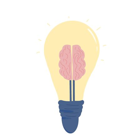 Idea concept. The light bulb with brain sign isolated on white background. Solution symbol. Lamp with mind shap. Creative thought. Vector color flat illustration.