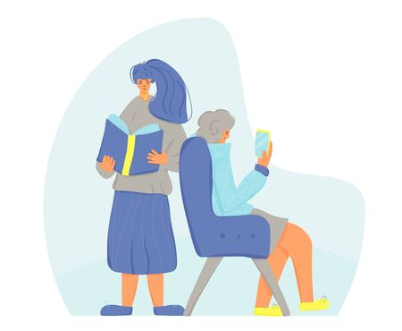 Two female persons reading a books. Young happy woman standing and leafing through a new bestseller and mature lady sitting in cozy chair and using her electronic reader. Vector color illustration.