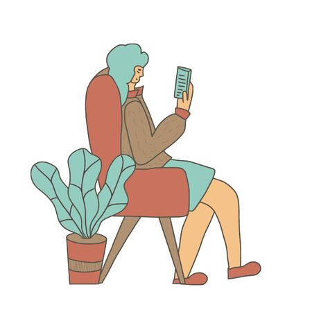 Attractive woman reading an electronic book isolated. Female character enjoying her own company. Lady wearing in in cozy clothes sitting in her chair and using her phone.  Vector color illustration. Ilustrace
