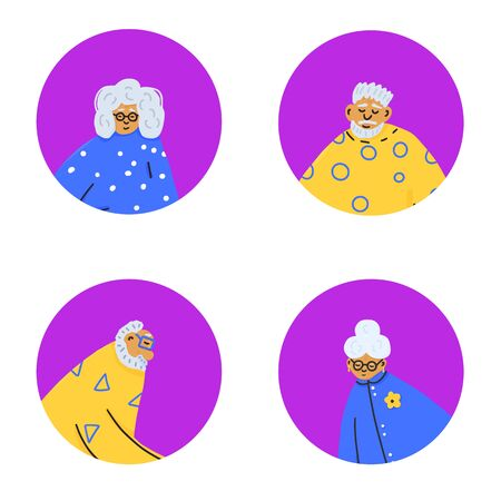 Set of icons with senior people. Different retired persons avatars isolated on white background. Vector flat illustration.