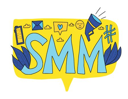 SMM text isolated on white background. Hand drawn social media marketing phrase surrounded digital marketing symbols - phone, megaphone, mail, hashag, smile. Vector stylized typography. Ilustrace