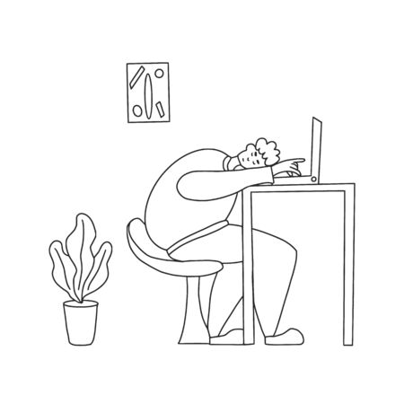 Young man  sitting at the laptop and sleeping. Exhausted character at work. Vector illustration.