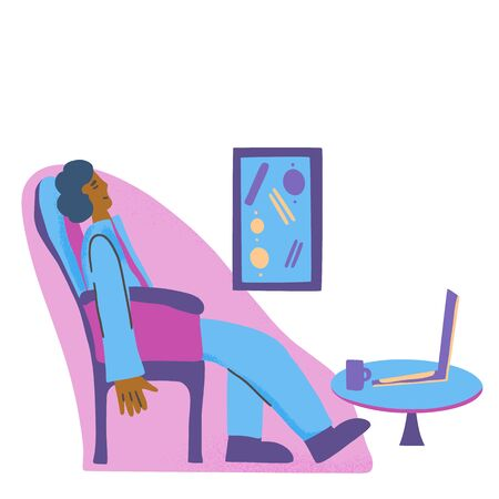 Nap concept. Person sitting in a chair and sleeping. Male tired character. Vector illustration. Ilustrace