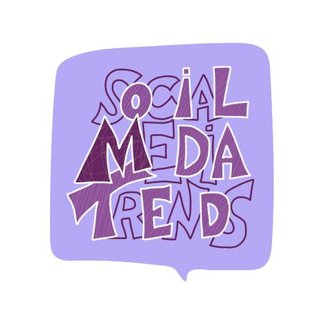 Social media trends text. Hand drawn message. Stylized title. Vector illustration.