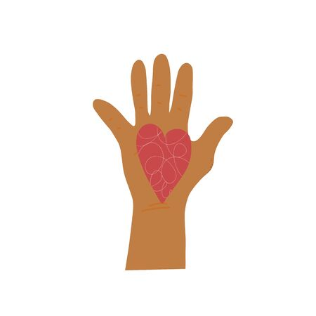 Volunteer concept. Handdrawn palm of human volunteer with heart symbol. Hand of man which do charity. Vector illustartion.