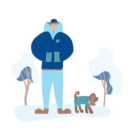 Young man dressed in trendy comfy clothes walking with his dog. Male teenager wearing in winter cozy coat, woolly cap with his puppy standing at the winter park. Vector flat illustration. Ilustrace