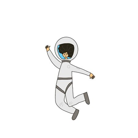 Female astronaut dressed in helmet isolated on white background. Young woman wearing an spacesuit floating in universe. Spaceman waving a hand. Vector illustartion. Ilustrace