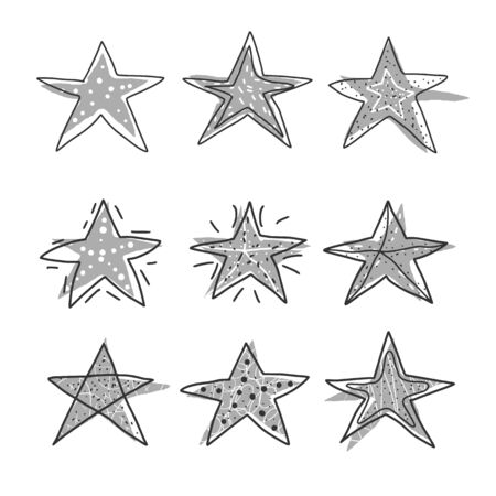 Stars set. Collection of simle elements. Hand drawn symbols in various shapes designs isolated on white background. Vector illustartion.