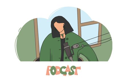 Podcast concept. Woman recording a podcast. Blogger make a new content for her channel. Vector illustartion.