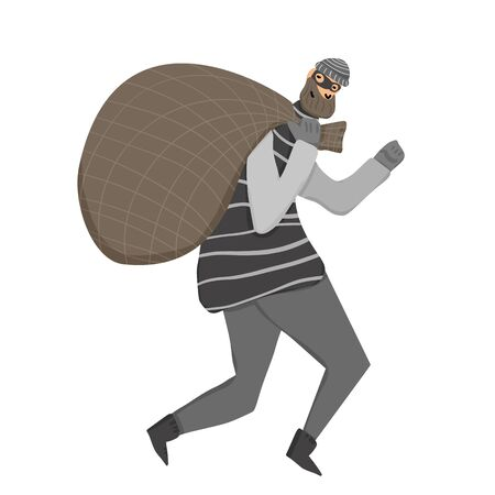 Thief with bag running away. Man dressed in striped shirt, hat and mask sneaking with looted property isolated on white background. Vector flat illustration.