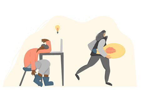 Plagiarism concept. Tired young man creating an idea and pirate stealing it metaphor. Female thief in the mask running away with a  bulb in her hands. Vector flat illustration.  イラスト・ベクター素材
