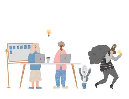 Infringement of copyright. Two coworker creating an idea. Person in mask stealing an idea metaphor. Thief running away with a bulb in his hands. Intellectual property. Vector flat illustration.