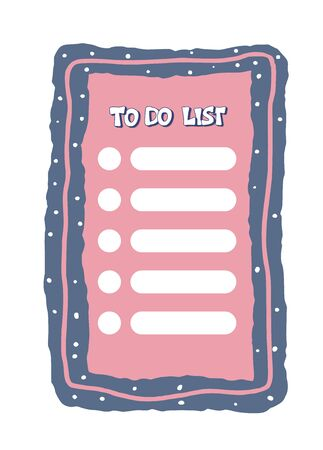 To do list template. Hand drawn reminder blank with copy space for text. Vector illustration.