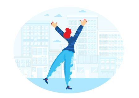 Joyful scene. Girl waving her hands and have fun in the street. Young woman jumping with raised hands oudoor. Girl rejoicing. Vector flat illustration.