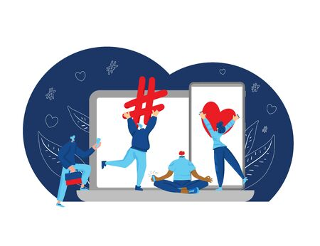 SMM concept. Social media network. Tiny people holding a huge marketing symbols aith phone and laptop. Influencers with phones. Vector flat illustration.