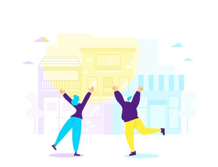 Joyful scene. Two mates waving their hands and have fun in the street. Young women jumping with raised hands on sunny day. Girls rejoicing together.Vector flat illustration.