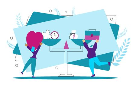 Work life balance. Two young women putting on the scale work and love symbols. Tiny girls try to choose between career and money versus love and time, leisure or business. Vector illustration. Illusztráció