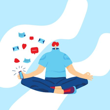Social media anxiety concept. Male using their phones during meditation. Teenage boy sitting crosslegs and holding his cellphone in hands. Vector illustration.