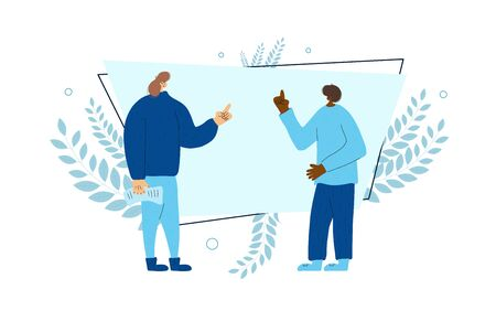 Quarrel. Friends arguing each other. Two persons discussing about life. Scene of family conflict. Bad relashionship. Vector flat illustration.